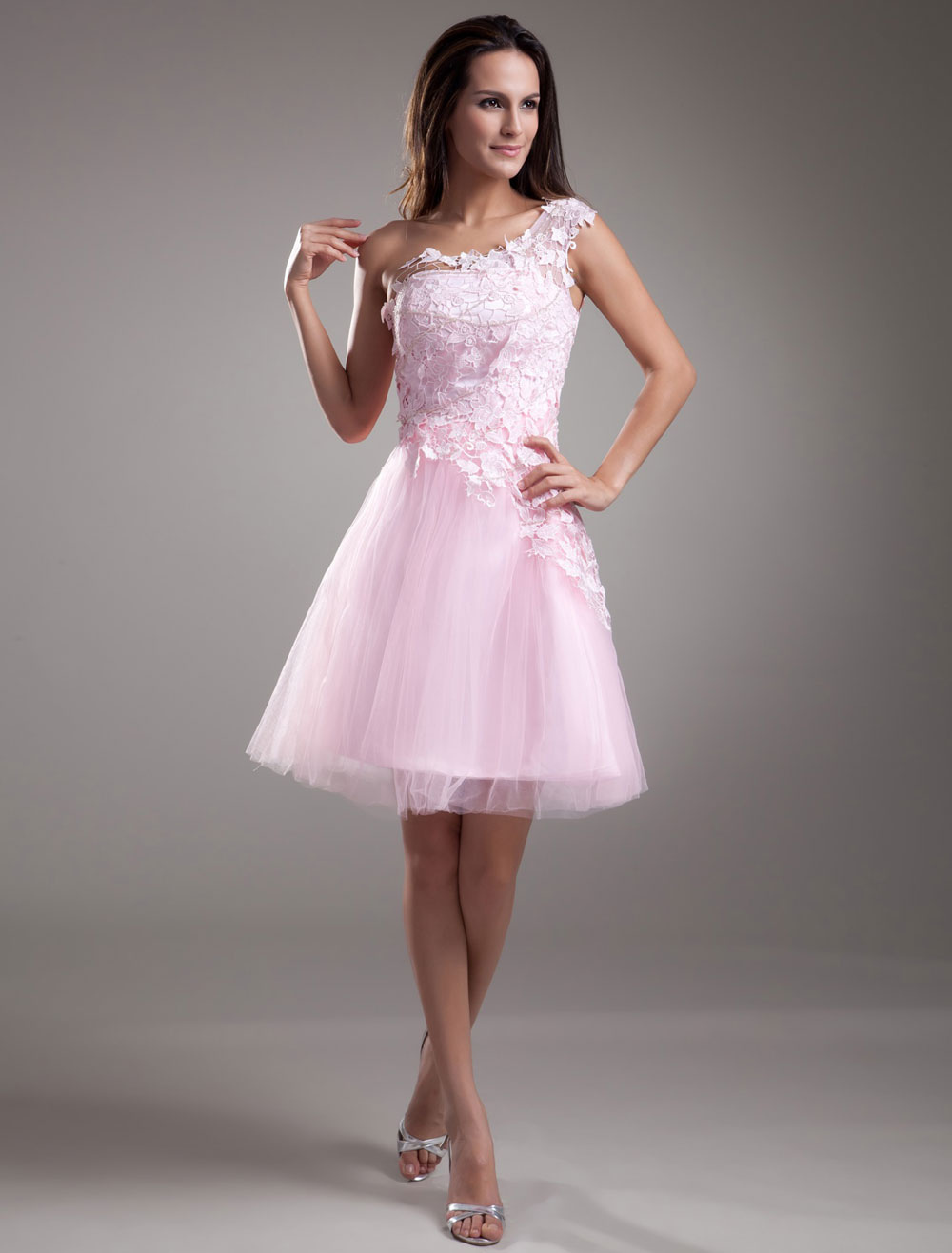 Lace Cocktail Dress One shoulder Short Prom Dress Pink Tulle Party Dress (Wedding Cheap Party Dress) photo