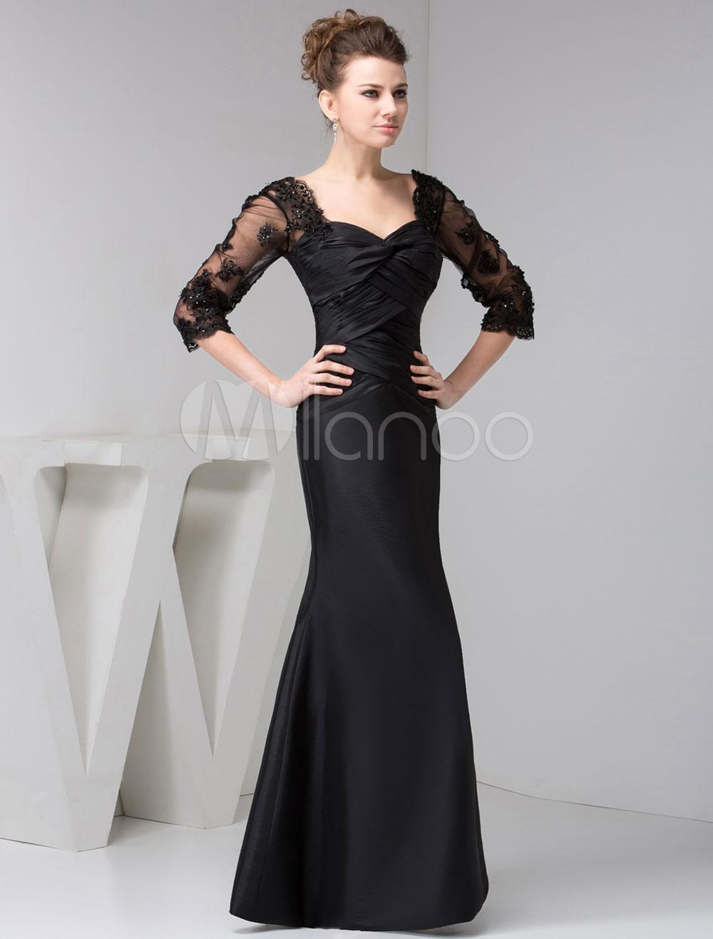 Black Mother Of Bride Dress Long Sleeves Lace Mermaid Maxi Evening Dress (Wedding) photo