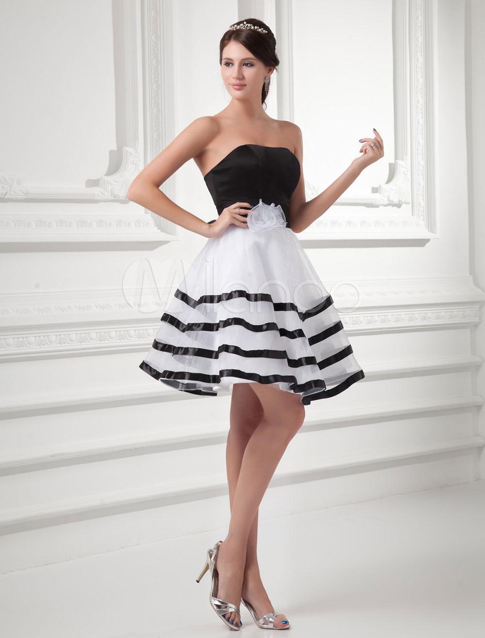Short Prom Dress Backless Sweetheart Organza A-line Mini Homecoming Dress