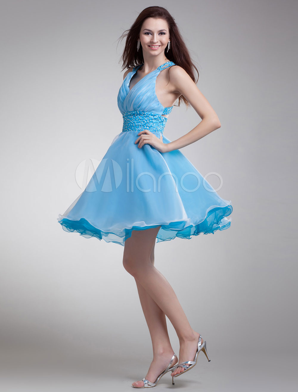 Short Prom Dress Criss-Cross Back Beading Organza Homecoming Dress Mini Party Dress