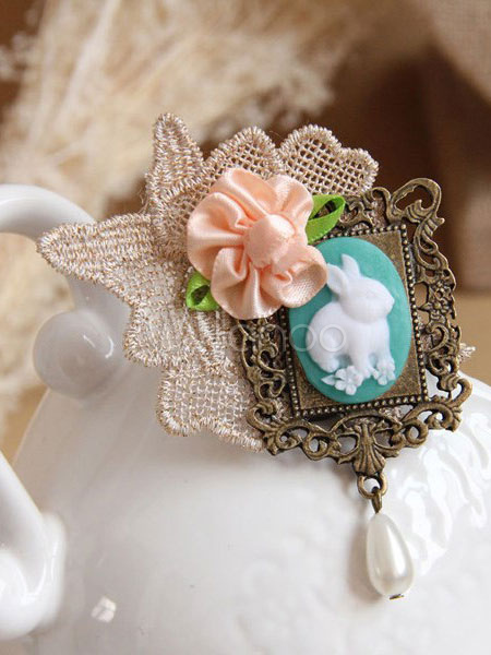 Vintage Lolita Brooch Lace Ribbon Flower Pearl Lolita Brooch Pin Decorated Rabbit