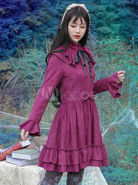Gothic Lolita Dress Vintage Bow Burgundy Ruffled Elegant Gothic Lolita Dresses Imitation Suede Milanoo Gothic Lolita Dress With Flare Sleeves (Costumes) photo