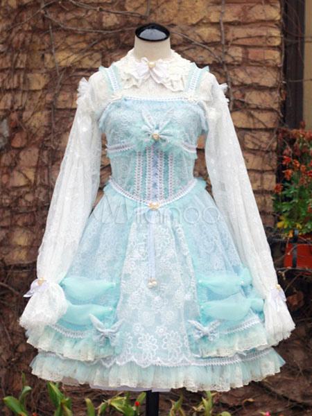 Sweet Lolita Dress Lace Bows Light Blue Hime Lolita Jumper