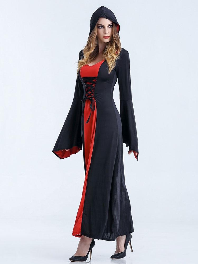 robe longue halloween costumes sorci re femme avec capuche. Black Bedroom Furniture Sets. Home Design Ideas