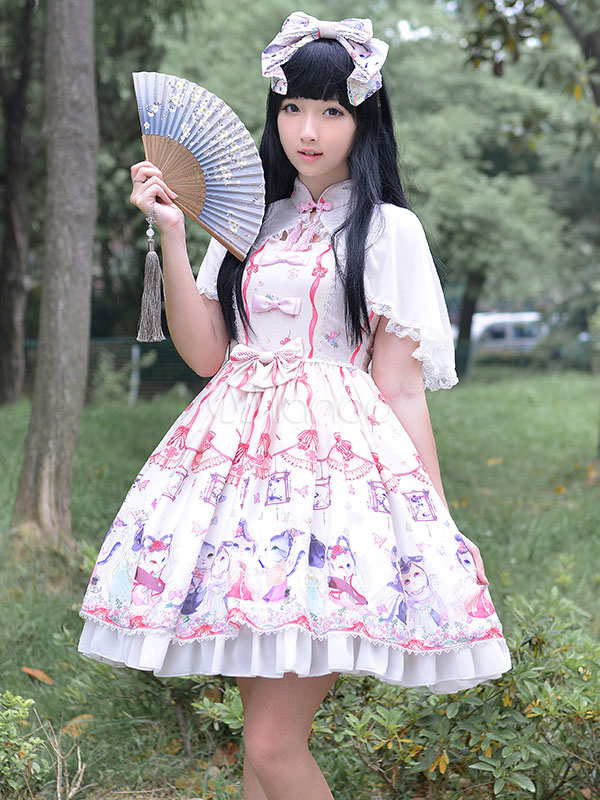 sweet lolita dress cute bows chinese style circus cats