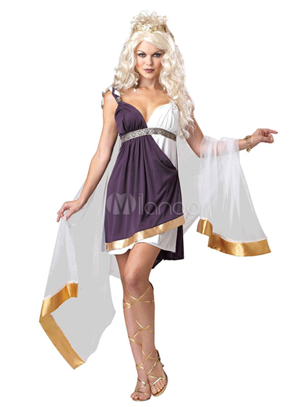 Halloween Costume Greek Women's Two Colors Strappy Ruffle Dress With Shawl Halloween