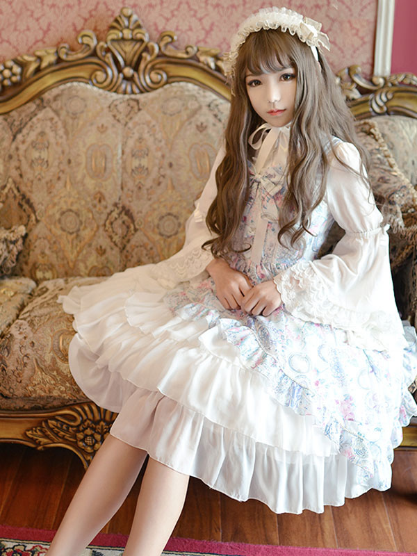 Classic Lolita Dress Jsk Antique Clock Printed Chiffon