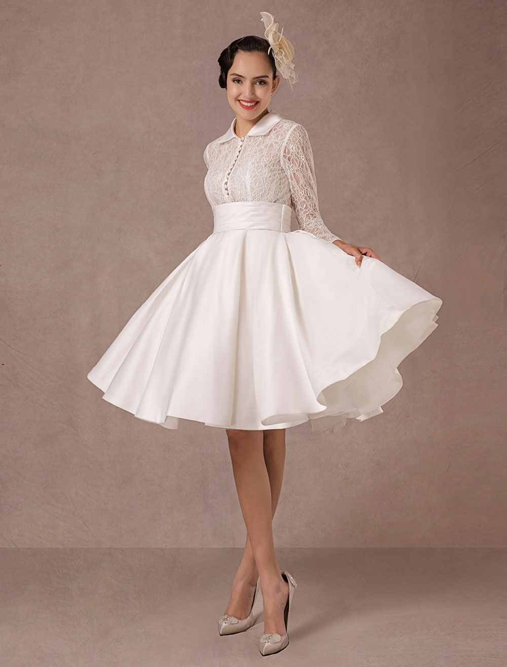 Vintage Wedding Dress Long Lace Sleeves Satin Bridal Gown Short Knee Length Summer Wedding Dresses 2018 Milanoo (Lace Wedding Dress) photo