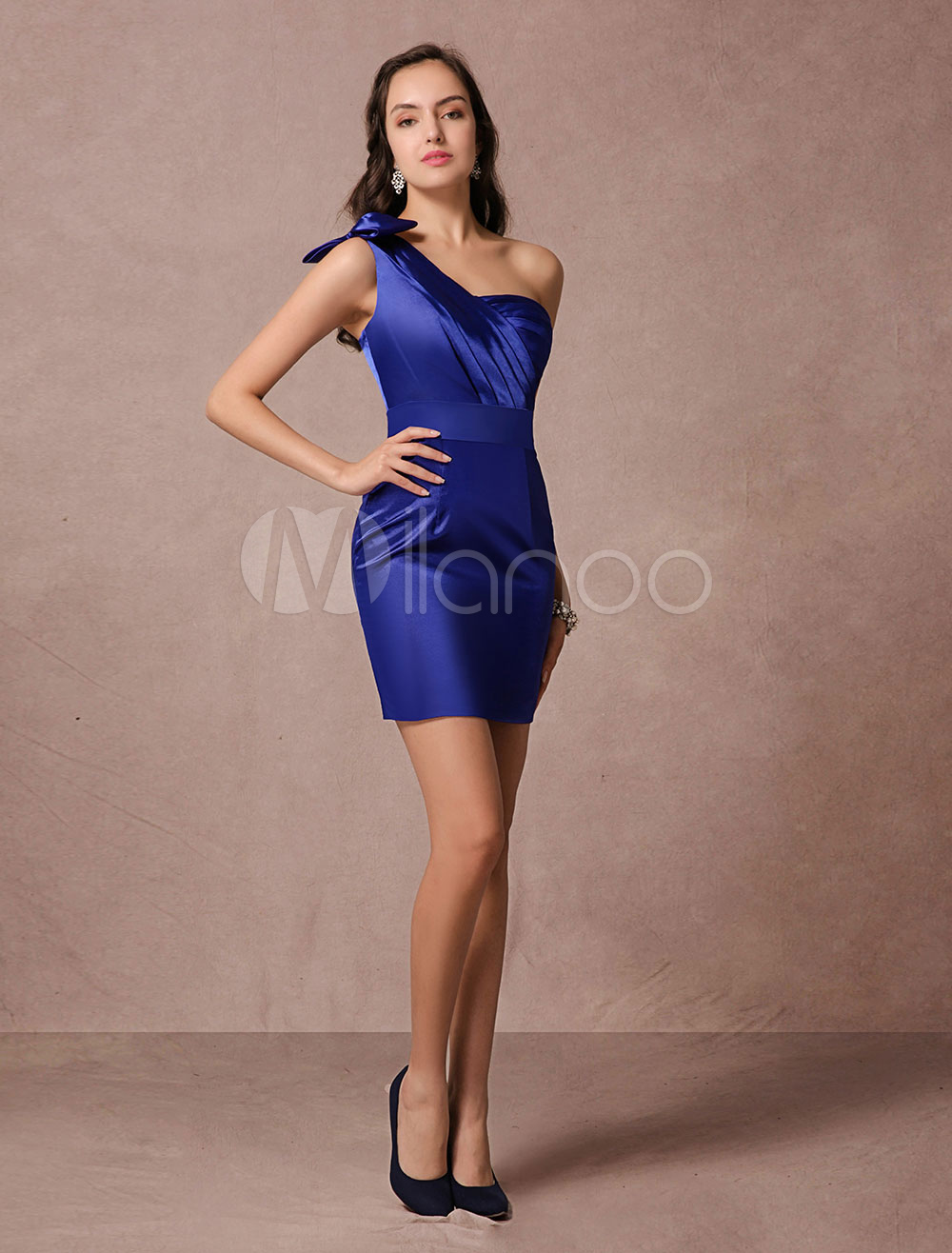 Blue Satin Cocktail Dress Sheath One-shoulder Backless Short Party Dress (Wedding Cocktail Dresses) photo