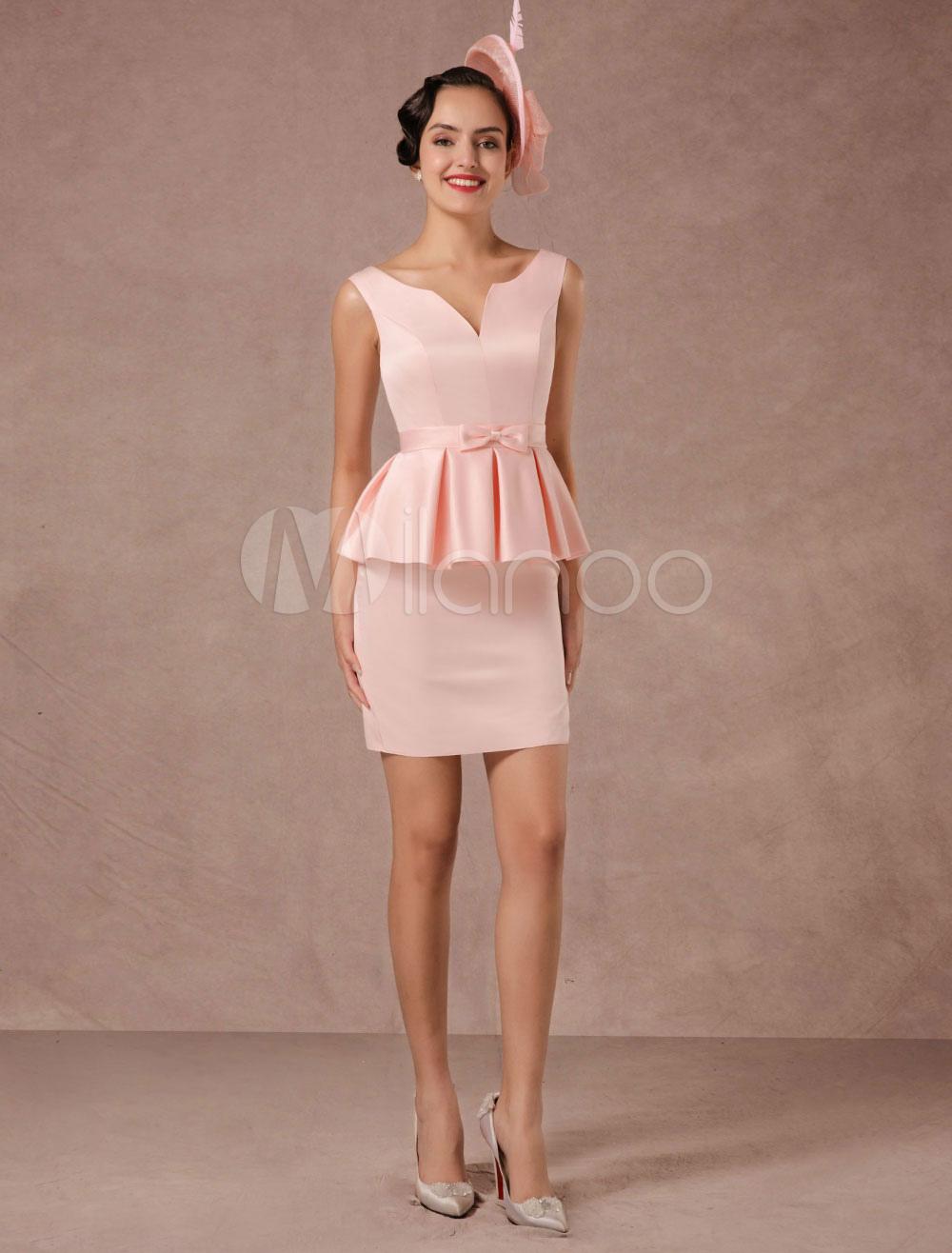 Pink Cocktail Dress Satin Vintage Short Party Dress Sheath Mini Dinner Dress (Wedding Cocktail Dresses) photo