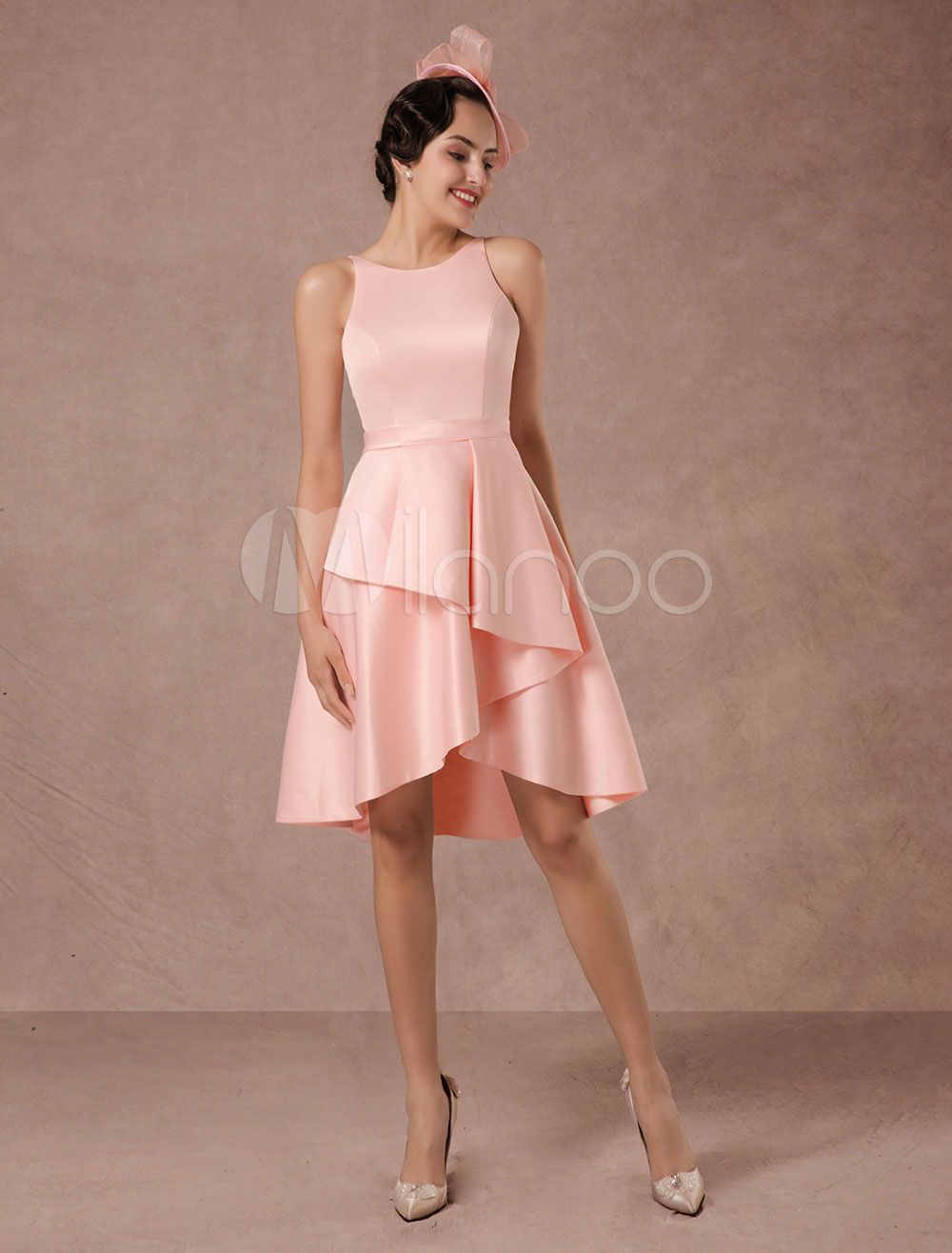 Short Wedding Dress Pink Satin Vintage Summer Wedding Dresses 2018 A-line Asymmetrical Train Cocktail Dress (Pink Wedding Dress) photo