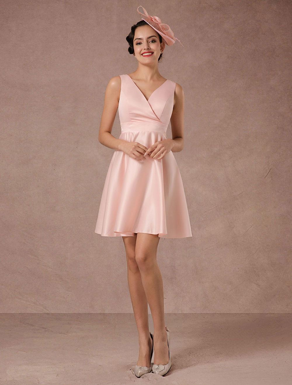 rosa hochzeitskleid kurze v ausschnitt satin cocktailkleid mit sch rpe. Black Bedroom Furniture Sets. Home Design Ideas