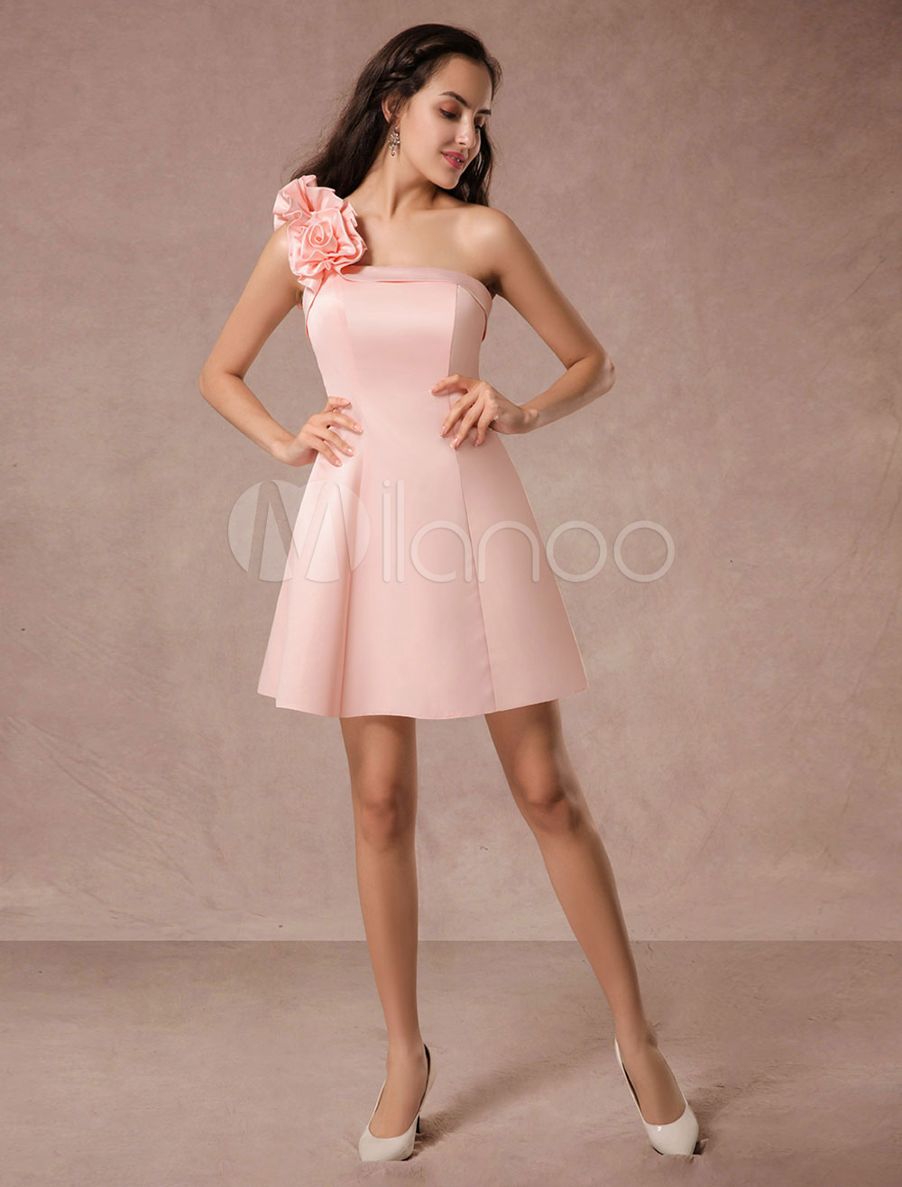 Short Prom Dress Pink Satin One-shoulder Ruffles A-line Homecoming Dress (Wedding Prom Dresses) photo