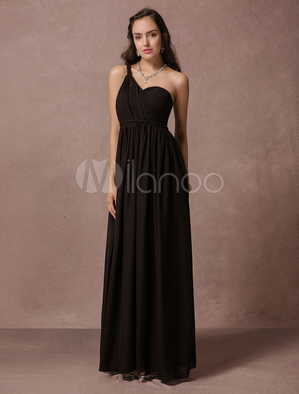 Black Bridesmaid Dress Maxi Chiffon Evening Dress A Line One Shoulder Backless Floor Length Party Dress (Wedding Evening Dresses) photo