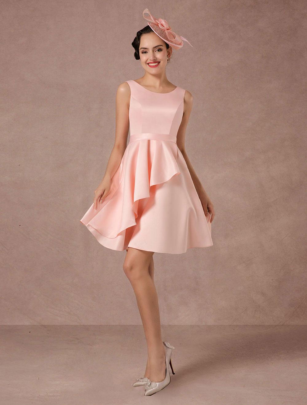 Pink Wedding Dress Short Vintage Summer Wedding Dresses 2018 Asymmetrical Train Cocktail Dress photo