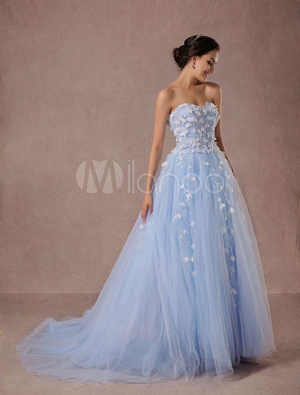 Blue Wedding Dress Lace Tulle Chapel Train Bridal Gown Sweetheart Strapless A-Line Luxury Princess Pageant Dress photo