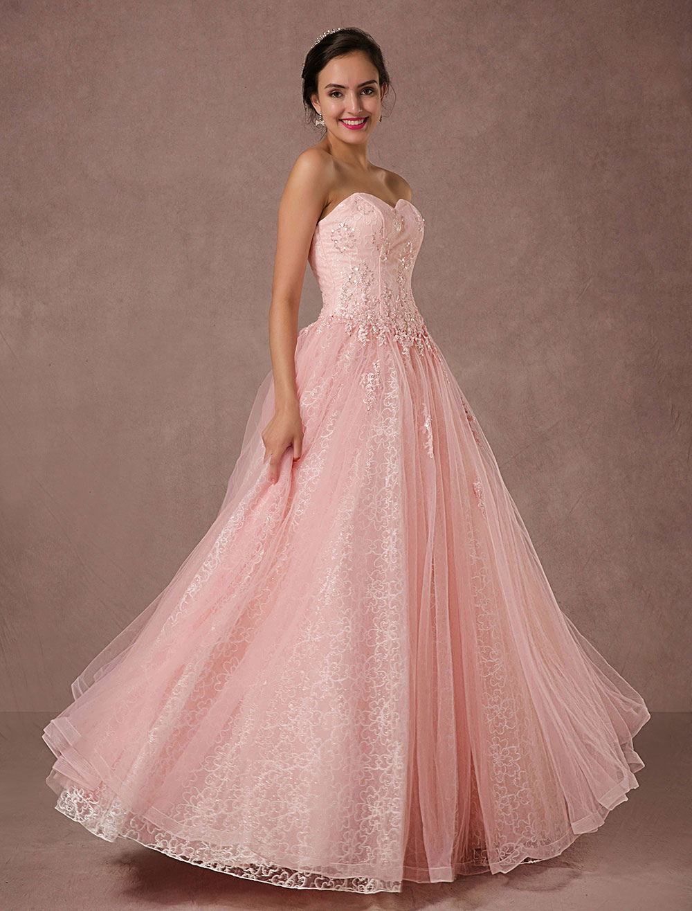 Pink Lace Wedding Dress Tulle Strapless Bridal Gown Floor-length A-line Beading Prom Dress Backless Luxury Pageant Dress (Pink Wedding Dress) photo