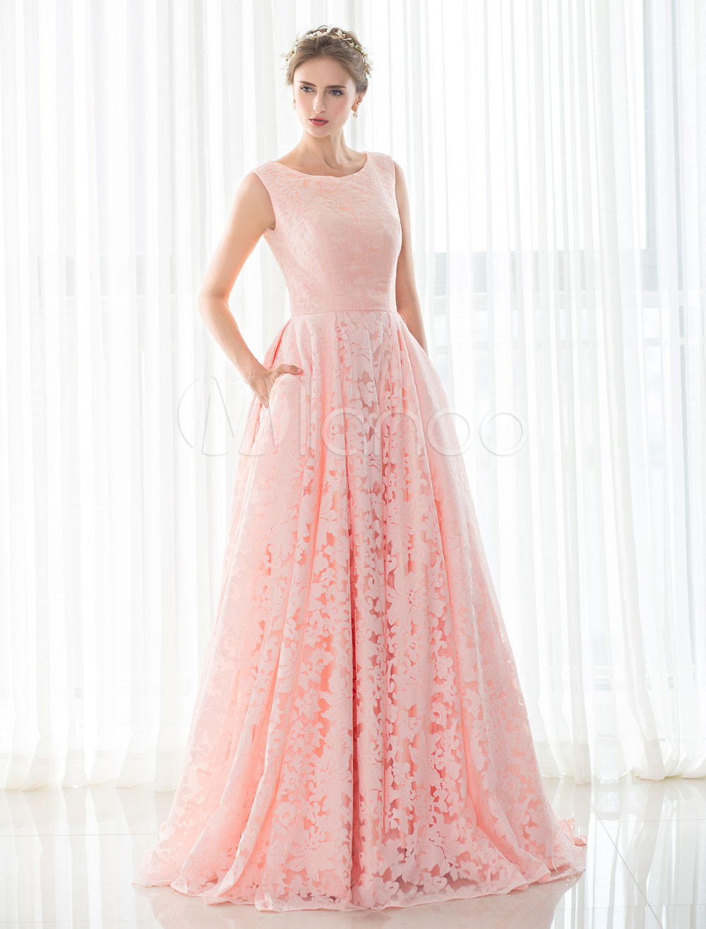 Pink Wedding Dress Lace A-line Court Train Sleeveless Lace-up Bridal Gown With Hand Pockets photo