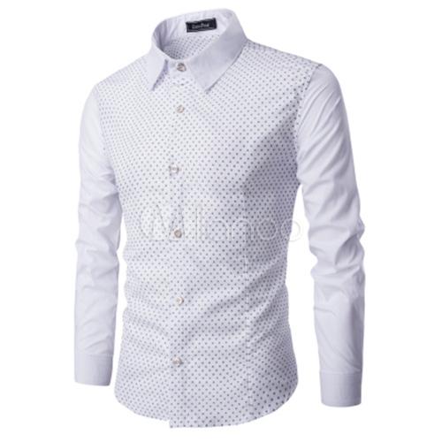 herren wei es hemd winzige print langarm turn down l ssige hemd mit kragen. Black Bedroom Furniture Sets. Home Design Ideas