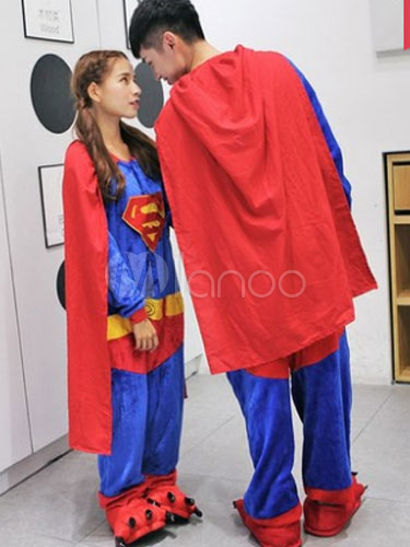 karneval kigurumi pyjamas superman strampler flanell paar kost m. Black Bedroom Furniture Sets. Home Design Ideas