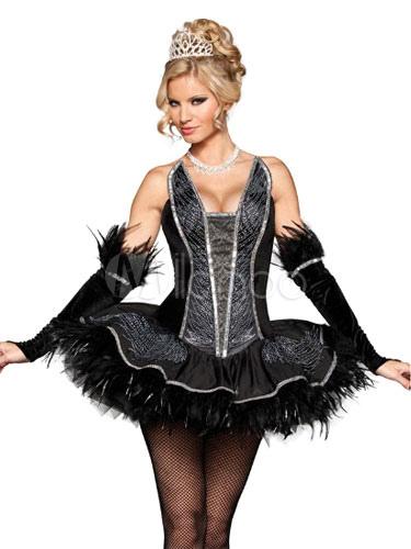 schwarzes korsett kleid halloween sexy pfau kost m damen mit handschuhen. Black Bedroom Furniture Sets. Home Design Ideas