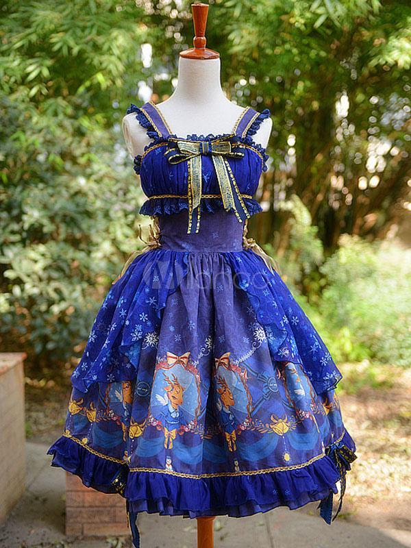 Sweet Lolita Dress Jsk Christmas Deer Royal Blue Printed