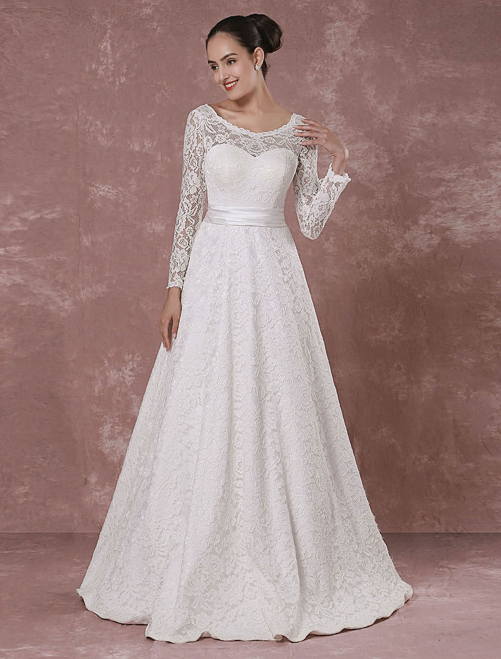 Lace Wedding Dress Backless Long Sleeves Bridal Gown A-line Floor-length Luxury Bridal Dress photo