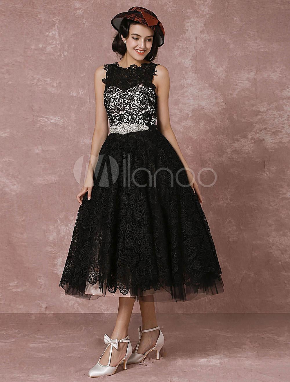 Short Wedding Dress Black Lace Vintage Bridal Gown Rhinestone Sash Tea-length Illusion Back Cocktail Dress Milanoo photo