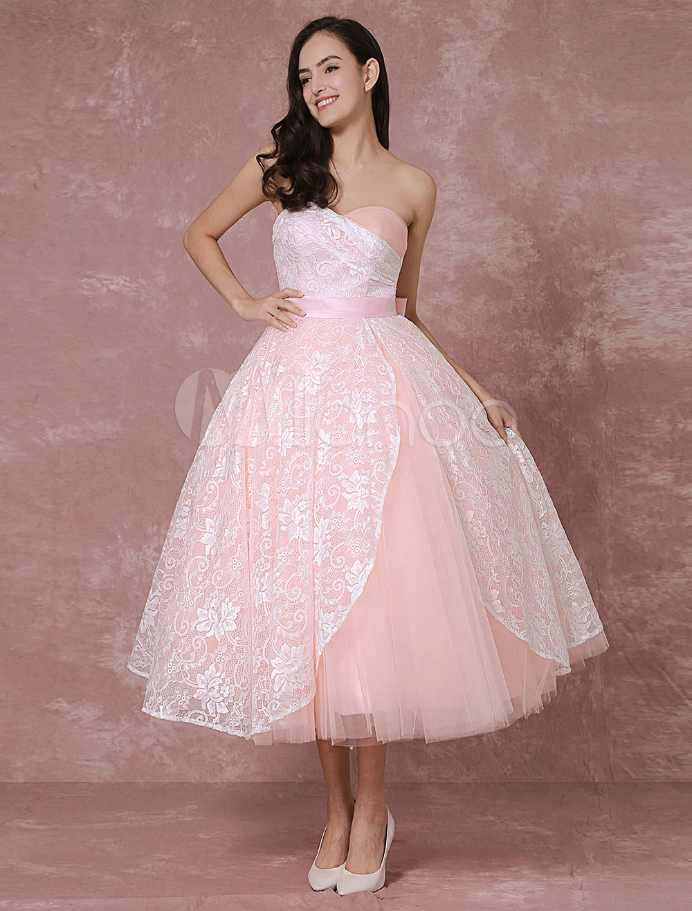 Blush Wedding Dress Short Lace Bridal Gown Pink Ball Gown Tulle Sweetheart Strapless Backless Tea-length Vintage Bridal Dress Milanoo (Pink Wedding Dress) photo