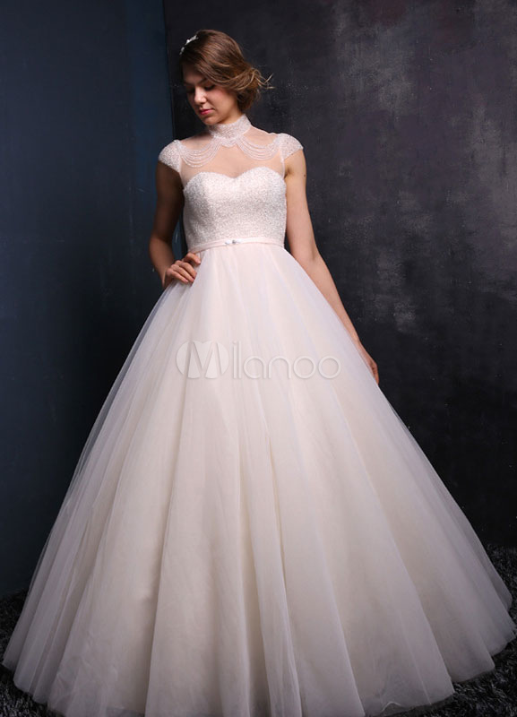 robe de mari e champagne tulle robe de mari e princesse perles manches courtes lacez vers le. Black Bedroom Furniture Sets. Home Design Ideas