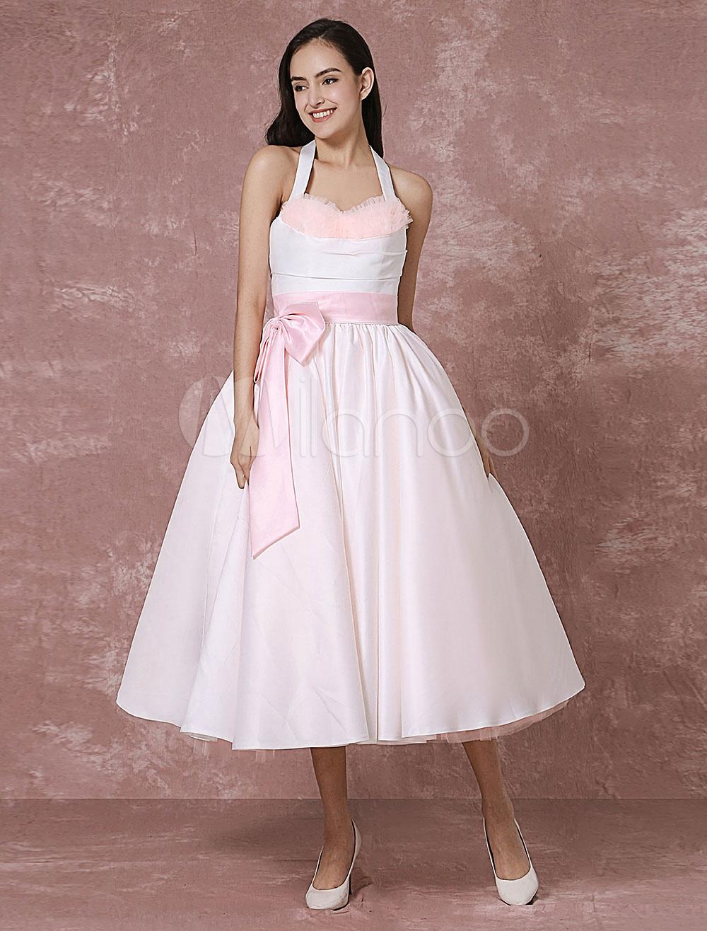 Vintage Wedding Dress Pink Tulle Short Bridal Gown Halter Satin Ribbon Sash Ball Gown Tea-length Bridal Dress Milanoo photo