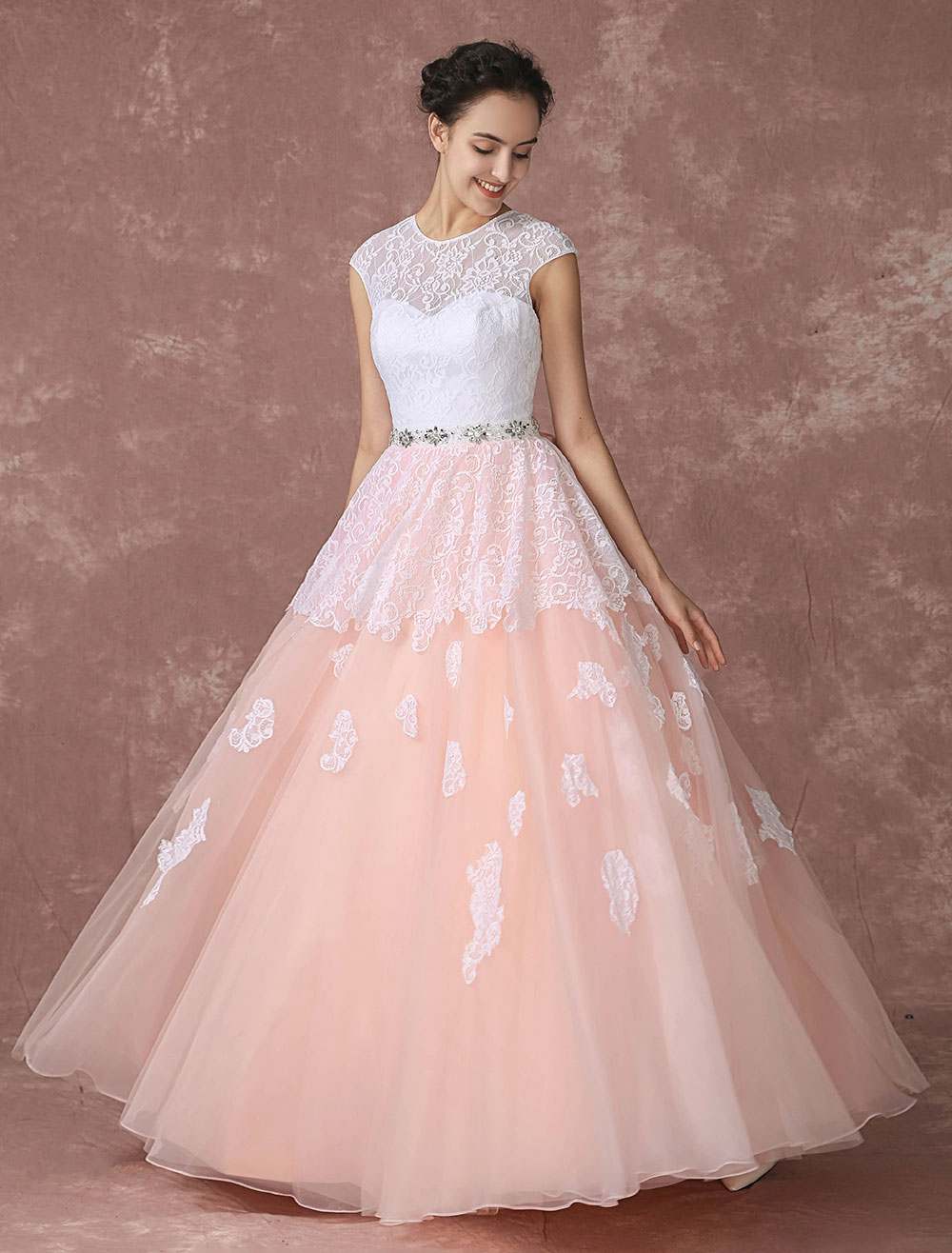 Brush Wedding Dress Lace Pink Bridal Gown Backless Floor-length A-line Tulle Bridal Dress With Rhinestone Sash And Ribbon Bow Milanoo (Pink Wedding Dress) photo