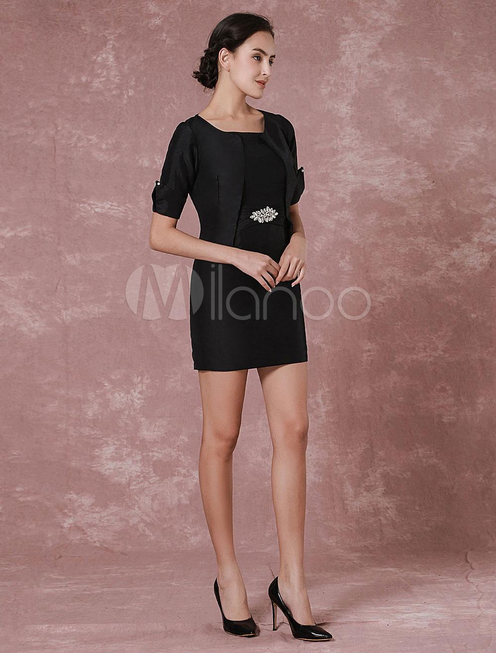 Black Mother Dress 2 Pieces Short Taffeta Cocktail Dress With Shrug Wedding Guest Dress photo