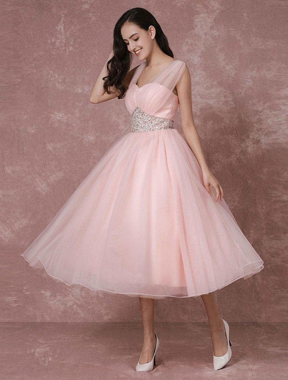 Tulle Wedding Dress Pink Bridal Dress Short Backless A-line Cocktail Dress Milanoo (Pink Wedding Dress) photo