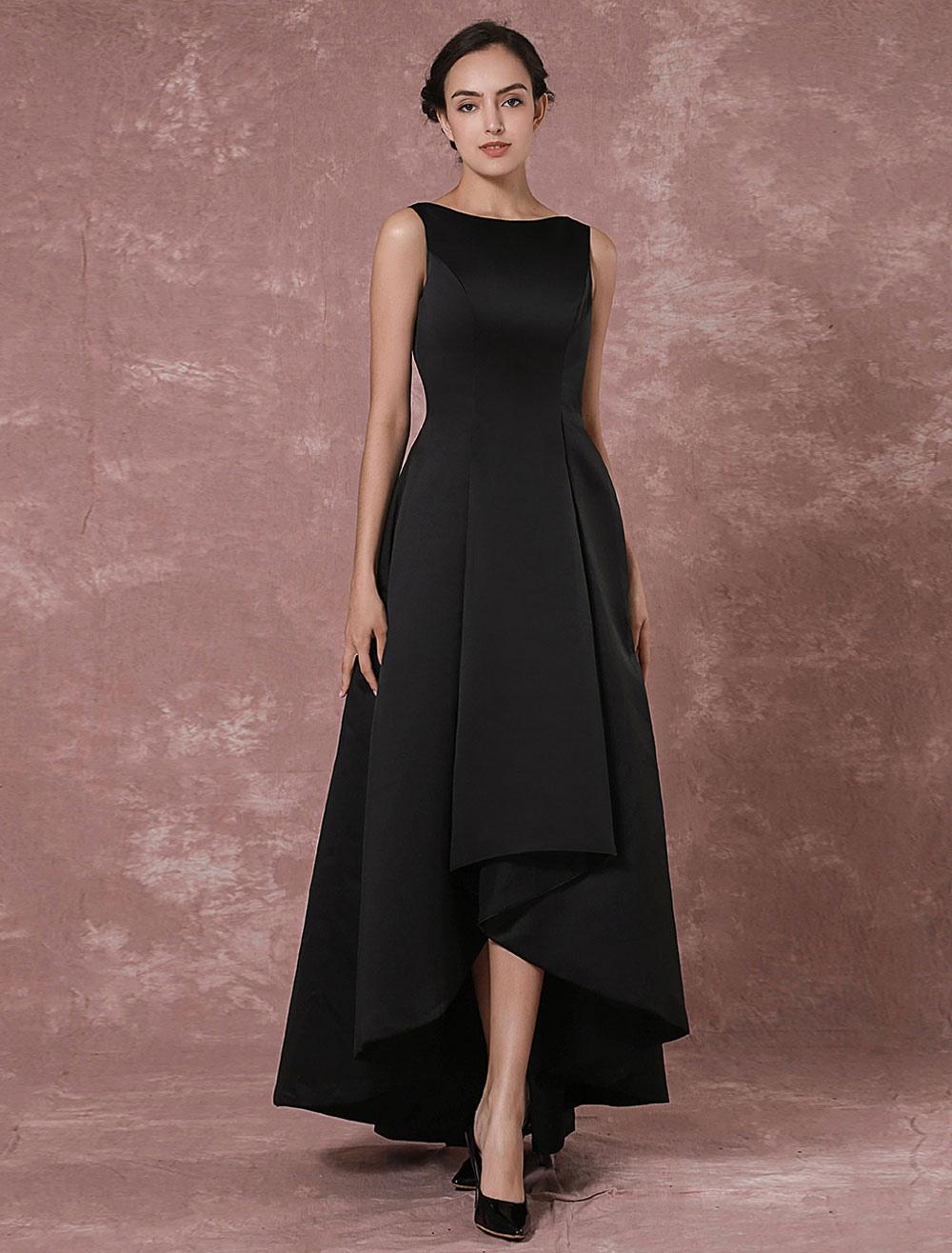 Black Prom Dresses 2018 Long Backless Evening Dress Taffeta High Low Pleated Party Dress (Wedding Evening Dresses) photo
