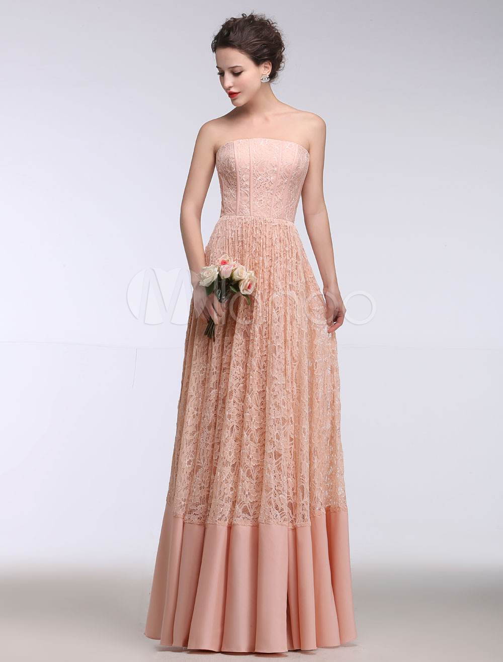 Pink Wedding Dress Lace Strapless A Line Summer Wedding Dresses 2018 Pleated Floor Length Bridal Dress (Cheap Wedding Dress) photo