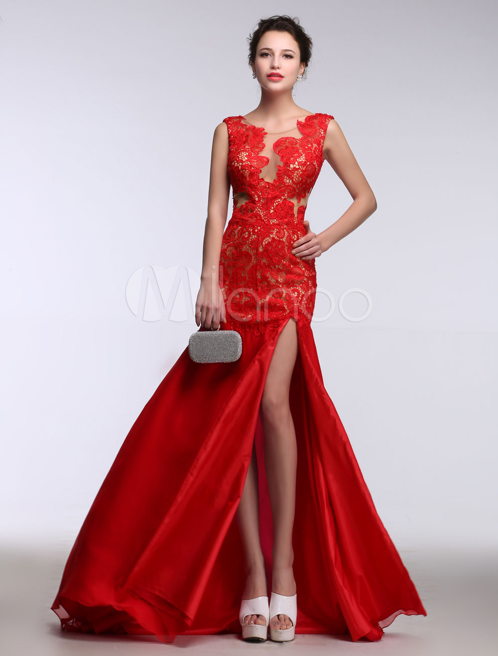 Lace Evening Dress Red Mermaid Occasion Dress Illusion Backless Satin Split Party Dress With Brush Train (Wedding Evening Dresses) photo
