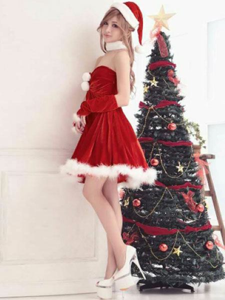 reizvolles weihnachten kost m mit kleid und hut und handschuhe in rot. Black Bedroom Furniture Sets. Home Design Ideas