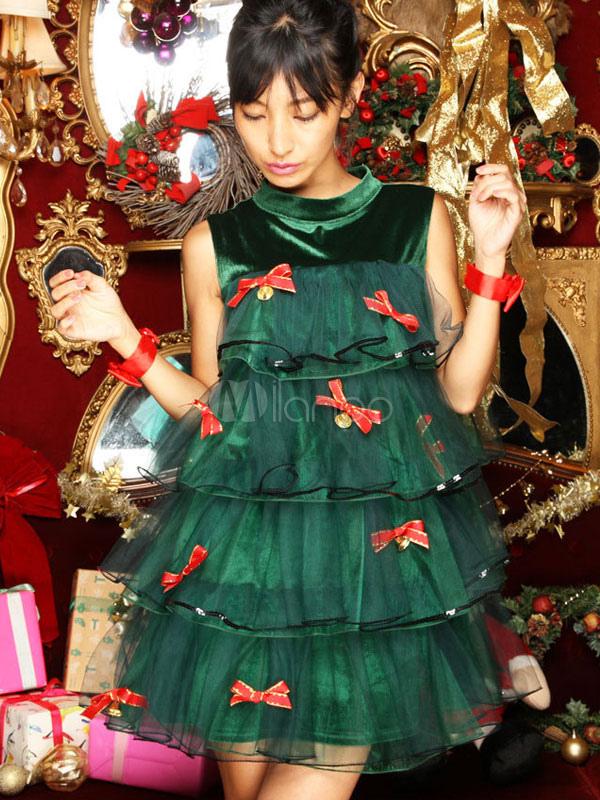 Sexy Christmas Tree Costume Green Bows Ruffle Tiered Mini