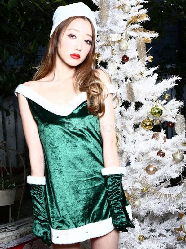 sexy kost m f r weihnachten mit kleid und hut und handschuhe in gr n. Black Bedroom Furniture Sets. Home Design Ideas