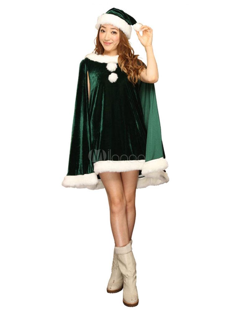 gr ne weihnachten kost m damen poncho cape kleid mit hose und hut. Black Bedroom Furniture Sets. Home Design Ideas