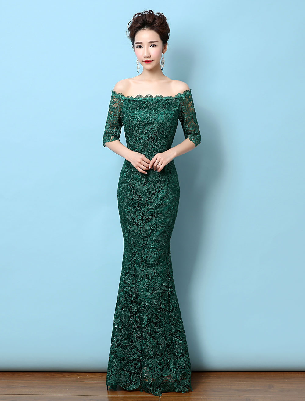 Lace Evening Dress Off The Shoulder Mermaid Party Dress Dark Green Half Sleeve Maxi Occasion Dress (Wedding Evening Dresses) photo