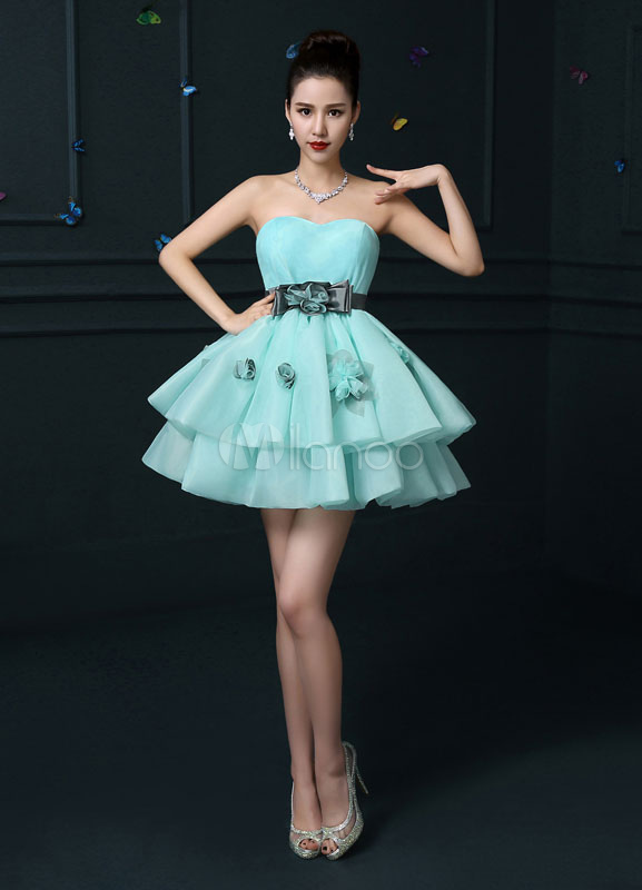 Strapless Homecoming Dress Backless Mini Prom Dress Mint Green Organza Tiered 3D Flower A Line Party Dress With Bow Sash (Wedding) photo