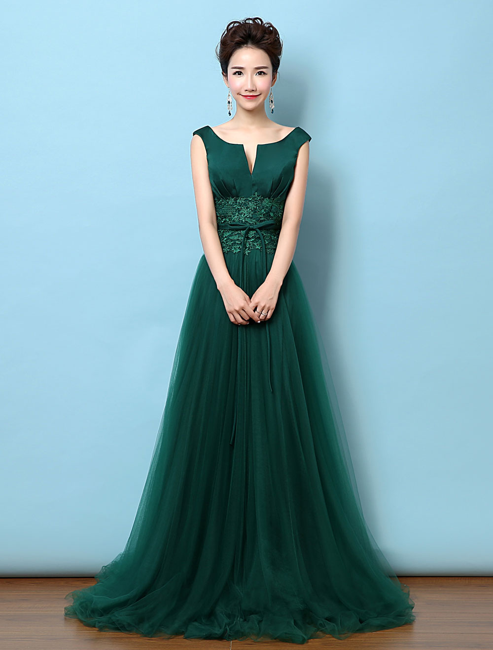 Tulle Evening Dress Backless Mother's Dress Dark Green Notched Neckline Lace Applique Bow Wedding Guest Dresses With Train (Evening Dresses) photo