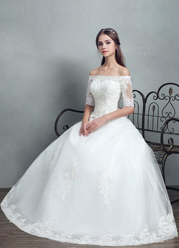Princess Wedding Dress Lace Beading Maxi Bridal Gown Off