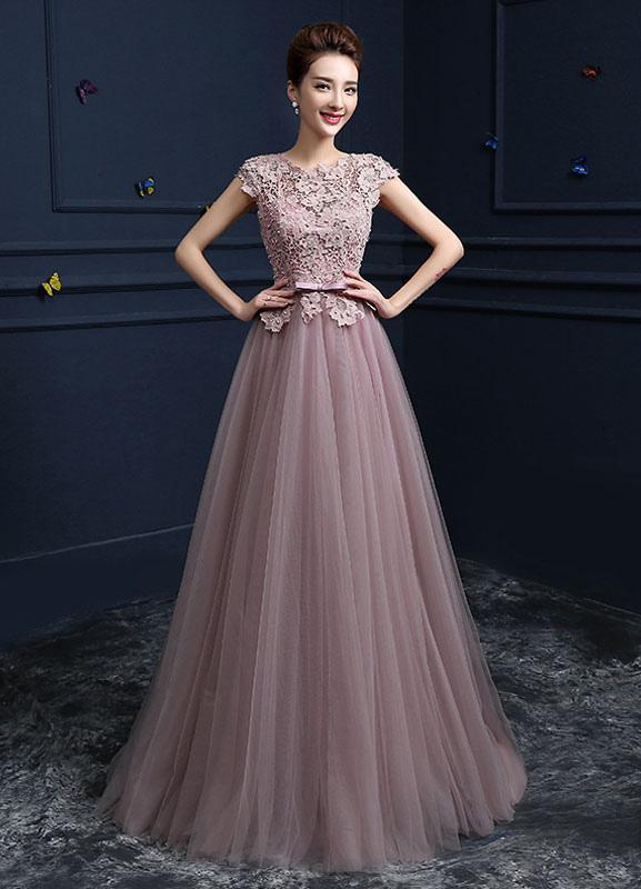 Pink Prom Dresses 2017 Long Tulle Graduation Dress Floor