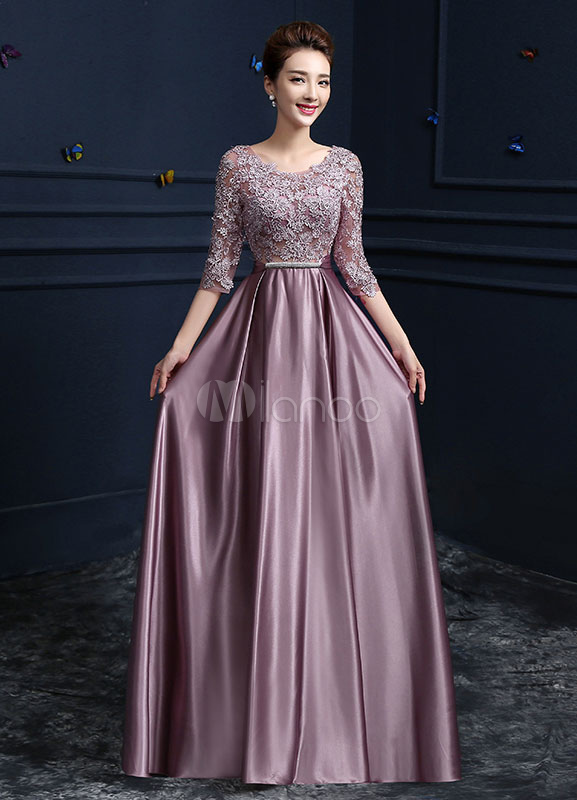 Lace Evening Dress Satin Round Neck Half Sleeve Mother Of The Bride Dress Cameo Pink A Line Floor Length Wedding Guest Dresses (Evening Dresses) photo