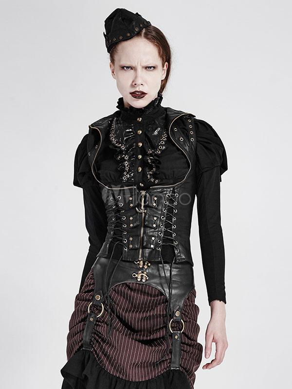 Steampunk vêtements Vintage Renaissance gothique Costume PU gilet veste  femme,No.3