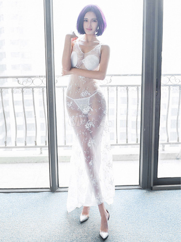 Halloween Sexy Bride Costume White Tulle Sheer Long Wedding Dress Costume Halloween (Costumes Bride Costumes) photo