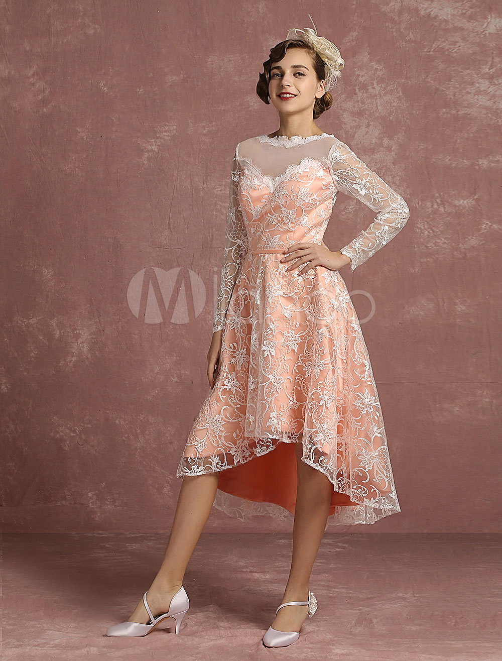 Lace Wedding Dress Pink High Low Vintage Bridal Gown Illusion Long Sleeve A Line V Back Short Bridal Dress Milanoo photo